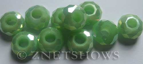 Tiaria Glass Crystal 44AB-Opaque Spring Green AB rondelle Beads <b>14x8mm</b> faceted 5mm large hole    per   <b> 10-pc-bag</b>