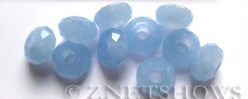 Tiaria Glass Crystal 46-Opaque Blue Opal rondelle Beads <b>14x8mm</b> faceted 5mm large hole    per   <b> 10-pc-bag</b>