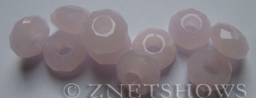 Tiaria Glass Crystal 48-Opaque Blossom Pink rondelle Beads <b>14x8mm</b> faceted 5mm large hole    per   <b> 10-pc-bag</b>