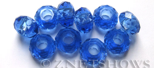 Tiaria Glass Crystal 33-Royal Blue rondelle Beads <b>14x8mm</b> faceted 5mm large hole    per   <b> 10-pc-bag</b>