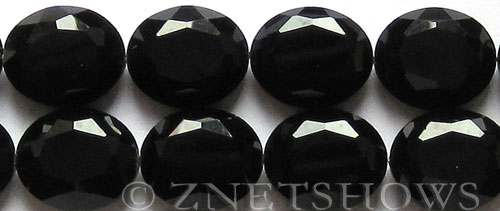 Tiaria Glass Crystal 02-Jet Black oval Beads <b>25x18mm</b> faceted     per   <b> 8-in-str (8-pc-str)</b>