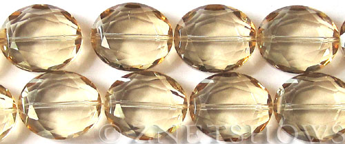 Tiaria Glass Crystal 69-Tan Color oval Beads <b>25x18mm</b> faceted     per   <b> 8-in-str (8-pc-str)</b>