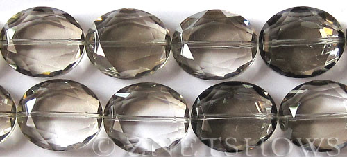 Tiaria Glass Crystal 70-Dark Tan Color oval Beads <b>25x18mm</b> faceted     per   <b> 8-in-str (8-pc-str)</b>