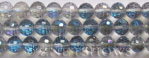 Tiaria Glass Crystal 123-Meridian Blue round Beads <b>10mm</b> faceted     per   <b> 8-in-strand (24-pc-str)</b>
