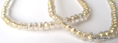 Tiaria Glass Crystal 01AB-Crystal AB rondelle Beads <b>3x2mm</b> faceted     per   <b> 100-pc-str</b>