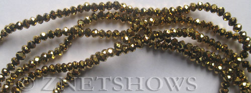 Tiaria Glass Crystal 103-Metallic Gold rondelle Beads <b>3x2mm</b> faceted     per   <b> 100-pc-str</b>