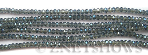 Tiaria Glass Crystal 115-Smoky Blue rondelle Beads <b>3x2mm</b> faceted     per   <b> 100-pc-str</b>