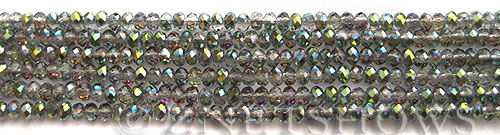 Tiaria Glass Crystal 120-Sahara Green rondelle Beads <b>3x2mm</b> faceted     per   <b> 100-pc-str</b>