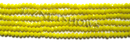 Tiaria Glass Crystal 81-Opaque Yellow rondelle Beads <b>3x2mm</b> faceted     per   <b> 100-pc-str</b>