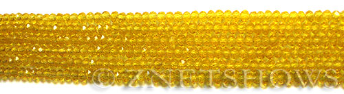 Tiaria Glass Crystal 84-Lemon rondelle Beads <b>3x2mm</b> faceted     per   <b> 100-pc-str</b>