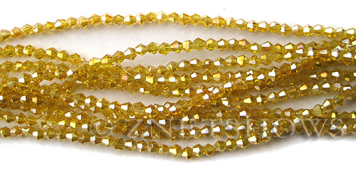 Tiaria Glass Crystal 84AB-Lemon AB bicone Beads <b>3mm</b> faceted     per   <b> 100-pc-str</b>