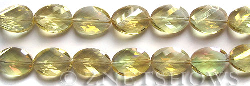 Tiaria Glass Crystal 10AB-Sunglow AB oval Beads <b>18x13mm</b> faceted     per   <b> 8-in-str (11-pc-str)</b>