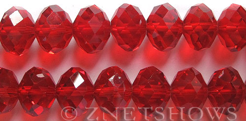 Tiaria Glass Crystal 05-Cherry Red rondelle Beads <b>18x12mm</b> faceted     per   <b> 10-pc-str</b>