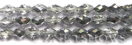 Tiaria Glass Crystal 101-Silver Ice barrel Beads <b>12x8mm</b> faceted     per   <b> 8-in-str (18-pc-str)</b>