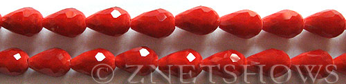 Tiaria Glass Crystal 49-Ruby Red teardrop Beads <b>12x8mm</b> faceted      per   <b> 19-pc-str</b>