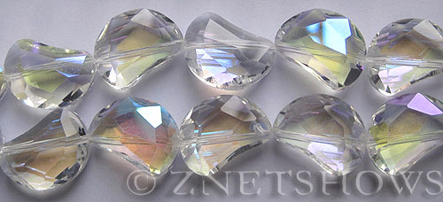 Tiaria Glass Crystal 01AB-Crystal AB kidney Beads <b>19x14mm</b> faceted halfmoon    per   <b> 8-in-str (11-pc-str)</b>