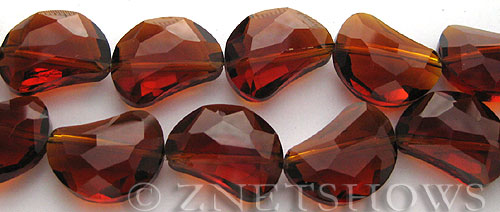 Tiaria Glass Crystal 17-Amber kidney Beads <b>19x14mm</b> faceted halfmoon    per   <b> 8-in-str (8-pc-str)</b>