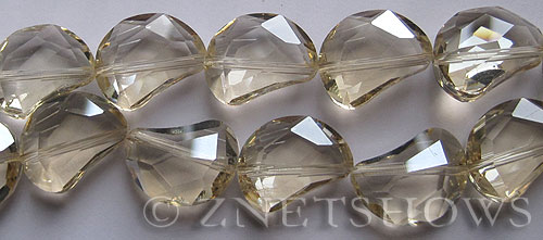 Tiaria Glass Crystal 68-Light Yellow kidney Beads <b>19x14mm</b> faceted halfmoon    per   <b> 8-in-str (11-pc-str)</b>