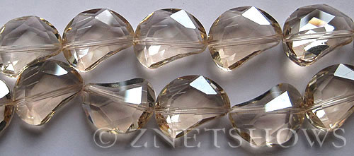 Tiaria Glass Crystal 69-Tan Color kidney Beads <b>19x14mm</b> faceted halfmoon    per   <b> 8-in-str (11-pc-str)</b>