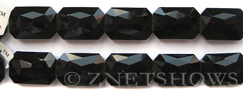 Tiaria Glass Crystal 02-Jet Black rectangle Beads <b>27x18mm</b> faceted     per   <b> 6-pc-str</b>