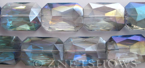 Tiaria Glass Crystal 123-Meridian Blue rectangle Beads <b>27x18mm</b> faceted     per   <b> 6-pc-str</b>