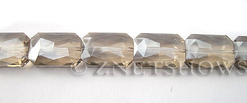 Tiaria Glass Crystal 69-Tan Color rectangle Beads <b>20x14mm</b> faceted     per   <b> 10-pc-str</b>