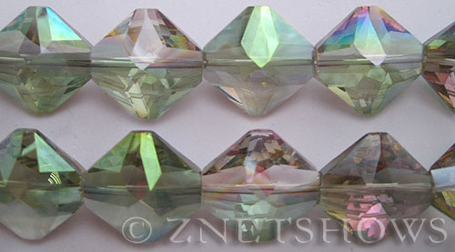 Tiaria Glass Crystal 120-Sahara Green diamond Beads <b>22x22mm</b> faceted     per   <b> 10-pc-str</b>