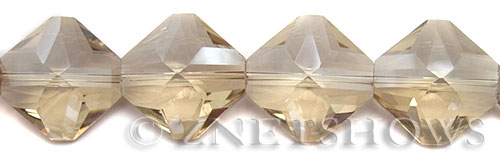 Tiaria Glass Crystal 69-Tan Color diamond Beads <b>22x22mm</b> faceted     per   <b> 10-pc-str	</b>