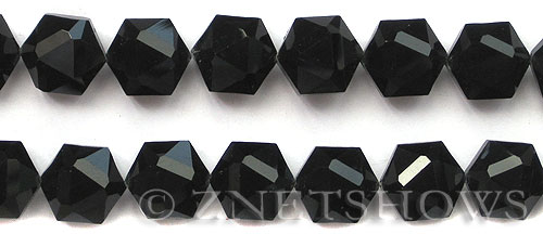 Tiaria Glass Crystal 02-Jet Black hexagon Beads <b>16x15mm</b> faceted     per   <b> 15-pc-str</b>
