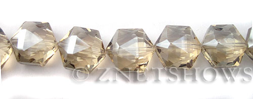 Tiaria Glass Crystal 69-Tan Color hexagon Beads <b>16x15mm </b> faceted     per   <b> 10-pc-str </b>
