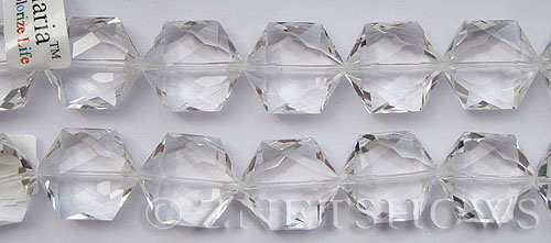 Tiaria Glass Crystal 01-Crystal hexagon Pendants <b>25x23mm</b> faceted     per   <b> 7-pc-str</b>