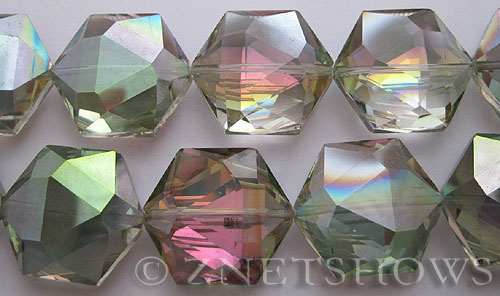 Tiaria Glass Crystal 120-Sahara Green hexagon Pendants <b>25x23mm</b> faceted     per   <b> 7-pc-str</b>