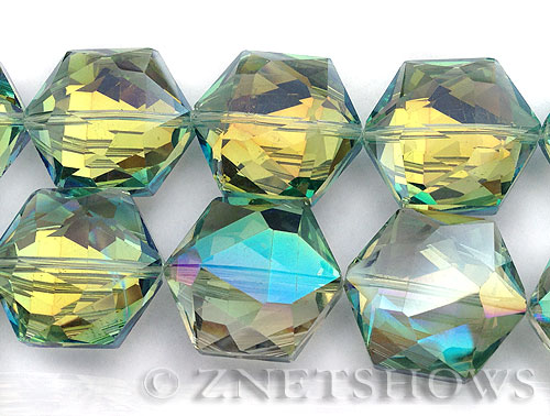 Tiaria Glass Crystal 122-Veridian Green hexagon Pendants <b>25x23mm</b> faceted     per   <b> 7-pc-str</b>