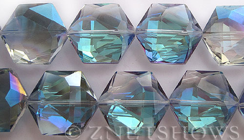 Tiaria Glass Crystal 123-Meridian Blue hexagon Pendants <b>25x23mm</b> faceted     per   <b> 7-pc-str</b>