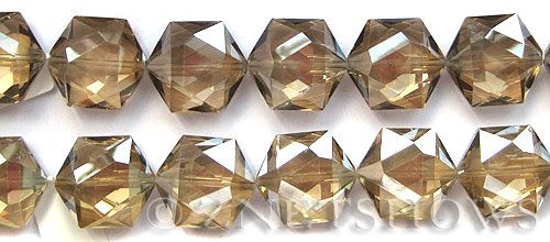 Tiaria Glass Crystal 69-Tan Color hexagon Pendants <b>25x23mm</b> faceted     per   <b> 7-pc-str</b>