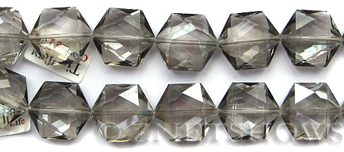 Tiaria Glass Crystal 70-Dark Tan Color hexagon Pendants <b>25x23mm</b> faceted     per   <b> 7-pc-str</b>