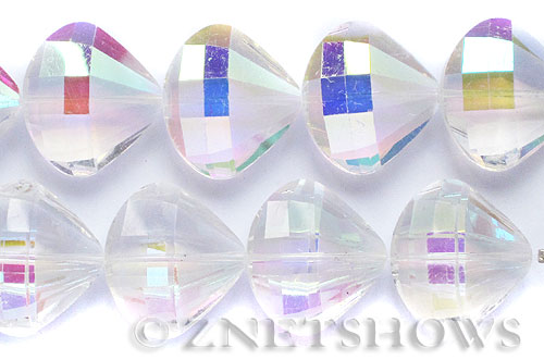 Tiaria Glass Crystal 01AB-Crystal AB fan Pendants <b>28x25mm</b> faceted     per   <b> 6-pc-str</b>