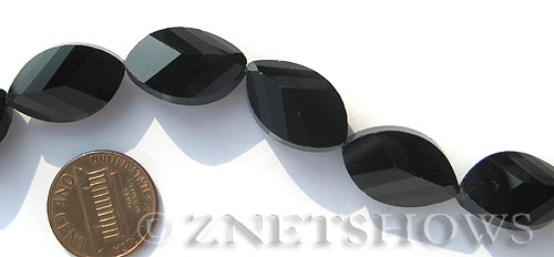 Tiaria Glass Crystal 02-Jet Black marquise spindle Beads <b>21x13mm</b> faceted     per   <b> 10-pc-str</b>
