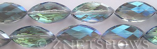 Tiaria Glass Crystal 123-Meridian Blue marquise spindle Beads <b>26x12mm</b> faceted     per   <b> 7-pc-str</b>
