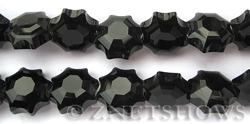 Tiaria Glass Crystal 02-Jet Black flower Beads <b>18mm</b> faceted     per   <b> 13-pc-str</b>