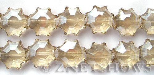 Tiaria Glass Crystal 69-Tan Color flower Beads <b>18mm</b> faceted     per   <b> 13-pc-str</b>