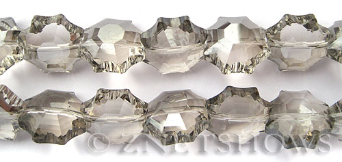 Tiaria Glass Crystal 70-Dark Tan Color flower Beads <b>18mm</b> faceted     per   <b> 13-pc-str</b>
