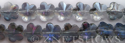 Tiaria Glass Crystal 121-Half Heliotrope flower Beads <b>15mm</b> faceted   <b>Extra Long Strands!</b>    per   <b> 35-pc-str</b>