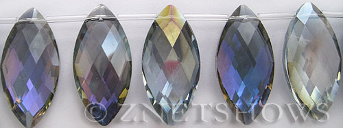 Tiaria Glass Crystal 121-Half Heliotrope marquise spindle Beads <b>32x16mm</b> faceted     per   <b> 12-pc-str</b>