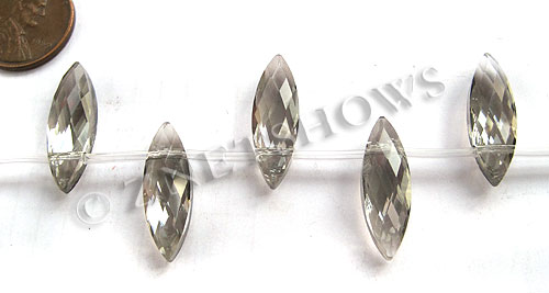 Tiaria Glass Crystal 70-Dark Tan Color marquise spindle Beads <b>22x7mm</b> faceted     per   <b> 12-pc-str</b>