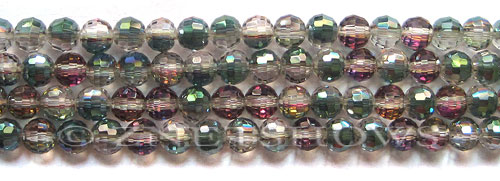 Tiaria Glass Crystal 120-Sahara Green round Beads <b>6mm</b> faceted 96 Facets    per   <b> 10-str-hank(37-pc-str)</b>