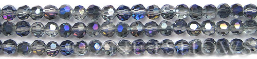 Tiaria Glass Crystal 121-Half Heliotrope round Beads <b>6mm</b> faceted     per   <b> 10-str-hank (37-pc-str)</b>