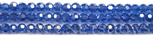 Tiaria Glass Crystal 33AB-Royal Blue AB round Beads <b>6mm</b> faceted     per   <b> 10-str-hank (37-pc-str)</b>