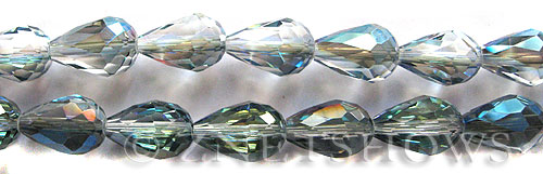 Tiaria Glass Crystal 123-Meridian Blue teardrop Beads <b>15x10mm</b> faceted     per   <b> 12-pc-str</b>