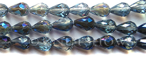 Tiaria Glass Crystal 123-Meridian Blue teardrop Beads <b>13x9mm</b> faceted     per   <b> 12-pc-str (6.5-in-str)</b>
